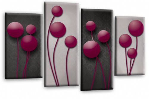 Abstract Floral Canvas Wall Art Picture Grey Plum Flower Print